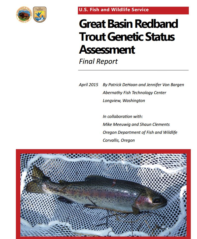 Great Basin Redband Trout genetics assessment report cover