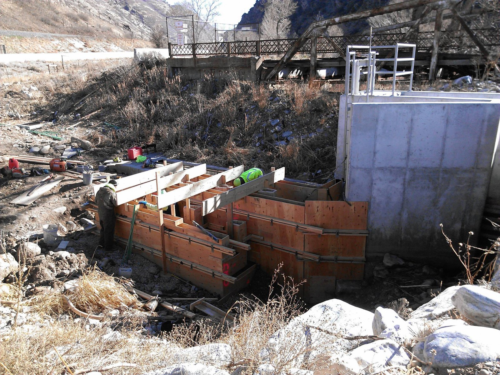 Weber River fish ladder under construction
